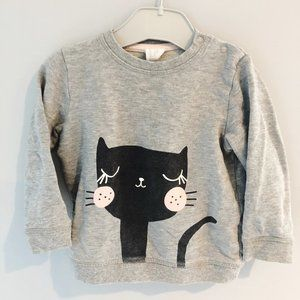 H&M grey cat sweater